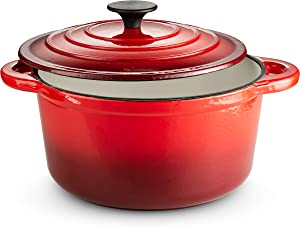 Klee Enameled Cast Iron Dutch Oven Casserole Stockpot with Self-Basting Cast Iron Lid, 4-Quart (Red)