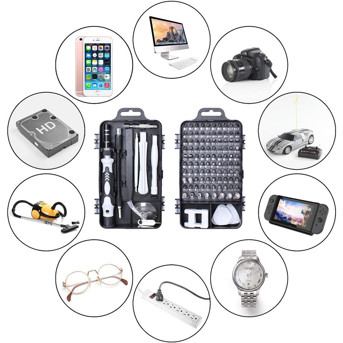 Gocheer 115 en 1 mini set tournevis precision kit tools petit boite tournevis torx informatique demontage pc portable pour macbook,iphone,réparation,lunettes,bricolage,montre,smartphone