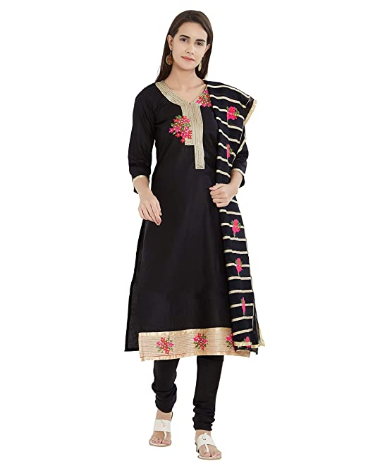 e403758818 Viva N Diva Un-Stitched Embroidery Salwar Suit Material Dupatta For Women's  Black & Pink Cotton Punjabi Salwar Suit, Free Size: Amazon.in: Clothing &  ...