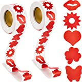 Yisong 2 Rolls of Tanning Stickers, 1.5 Inch Sunbathing Stickers with 5 Patterns, Removable Perforated Self-Adhesive Safety S