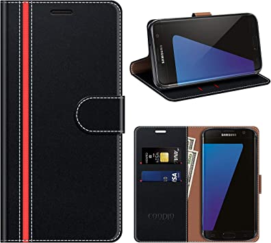COODIO Housse Cuir Samsung Galaxy S7 Edge, Étui Coque en Cuir Samsung S7 Edge, Rugged Housse Portefeuille Magnétique/La Fonction Stand pour Samsung ...