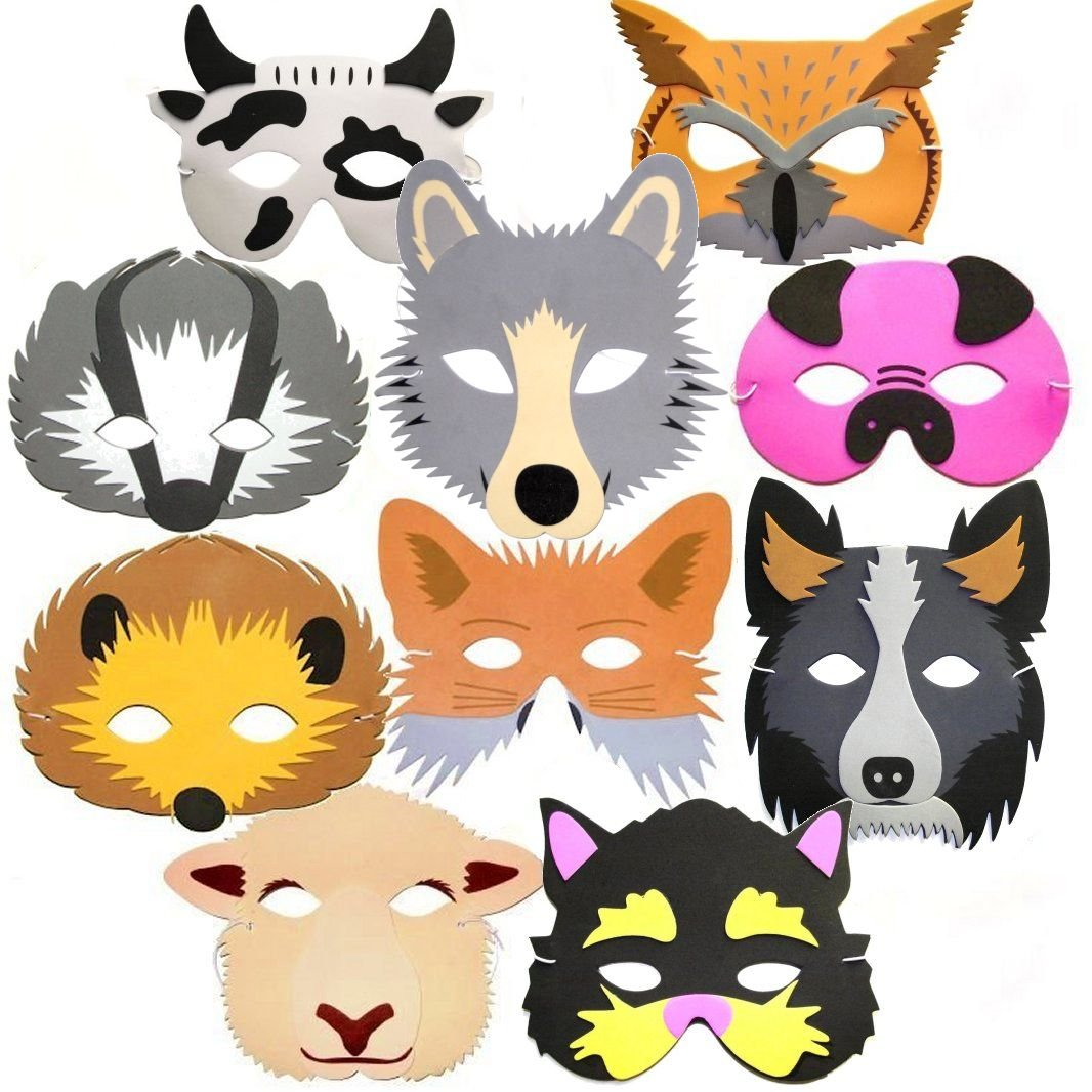10 Woodland & Farm Animal Foam Childrens Face Masks - Made by Blue Frog Toys