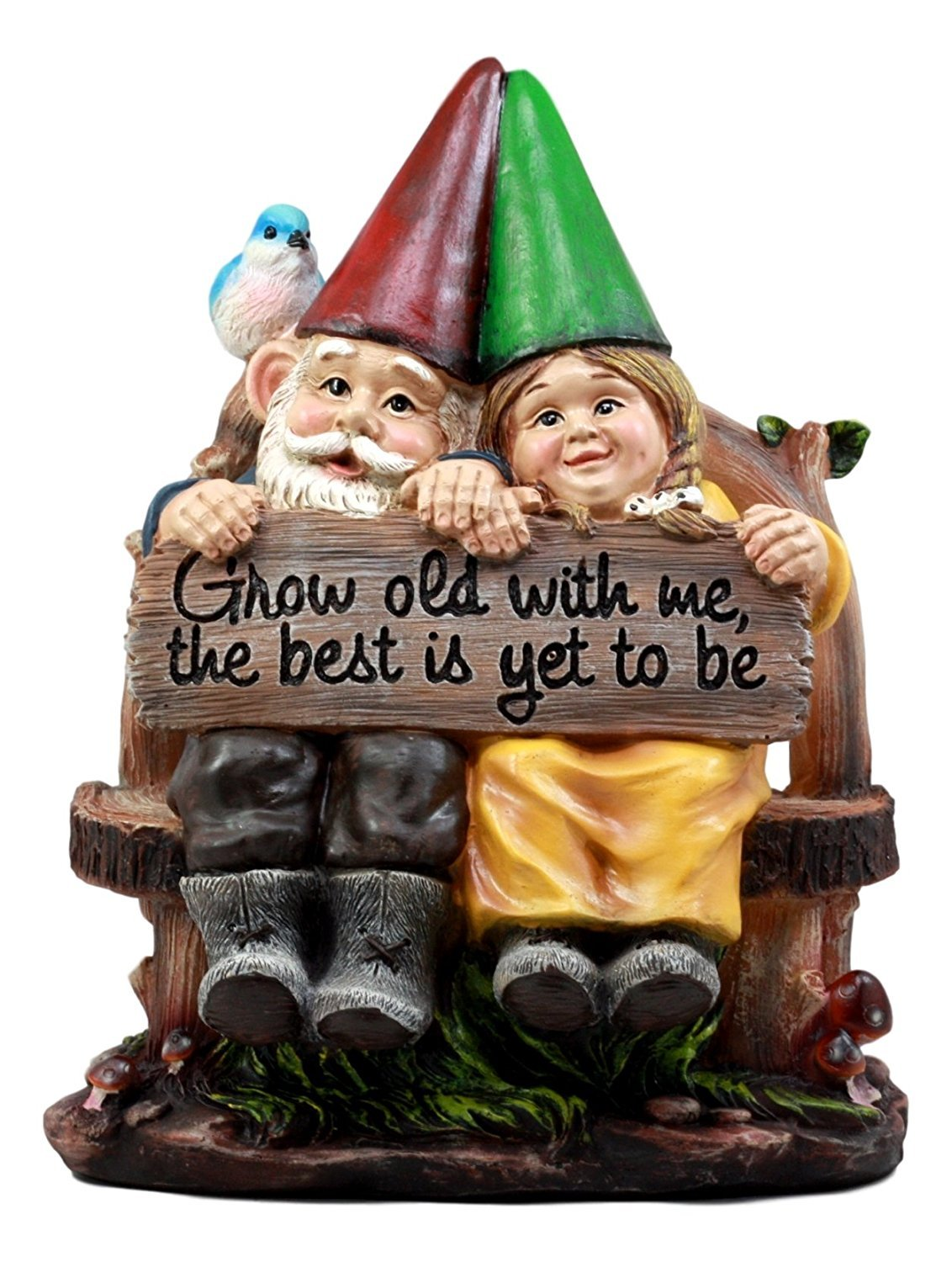 "Ebros Grow Old With Me Mr And Mrs Gnome Statue 11""Tall For Patio Garden Lawn Home Decor Figurine"