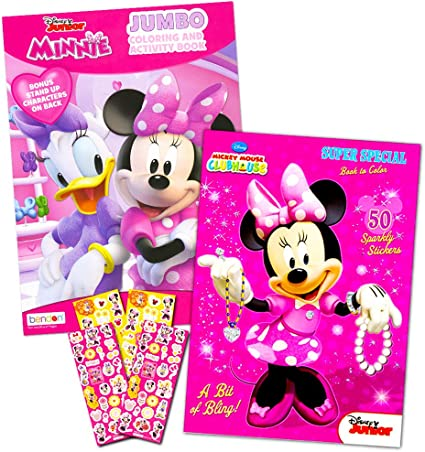 - Amazon.com: Disney Minnie Mouse Coloring Book Set With Stickers -- 2 Deluxe Coloring  Books And Over 150 Stickers: Toys & Games