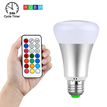 iyonch 10 W RGBW Luz Blanco Regulable cambia de color Ambiente extensión E27 A19 bombillas LED