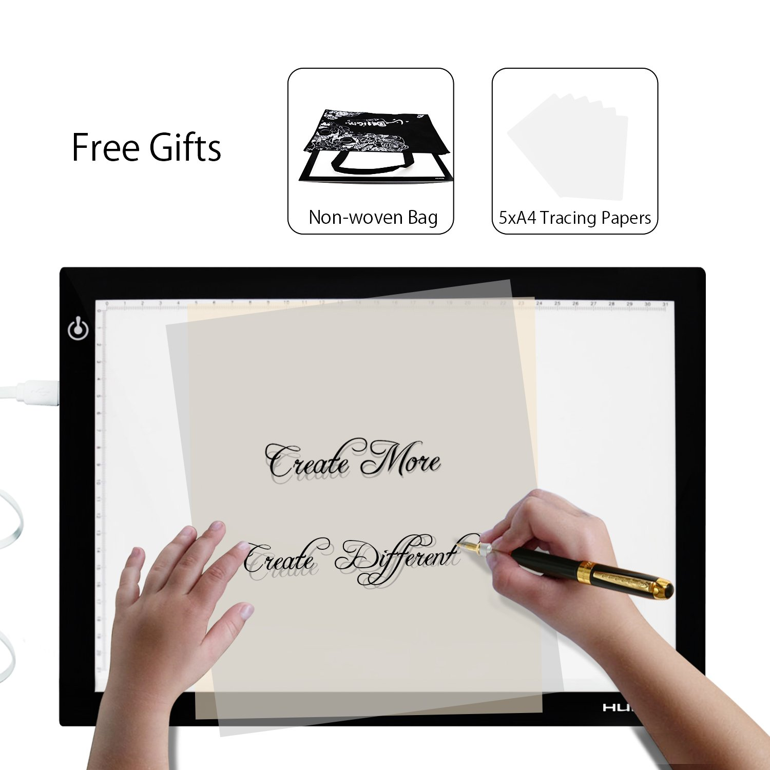 Huion L4S Light Box - 17.72 Inches USB ADJUSTABLE Illumination Light Panel only 5mm Thin Light Table with 5 A4 Tracing Papers and 1 Non-woven Bag L14.17'' x W10.63'' x H0.2''