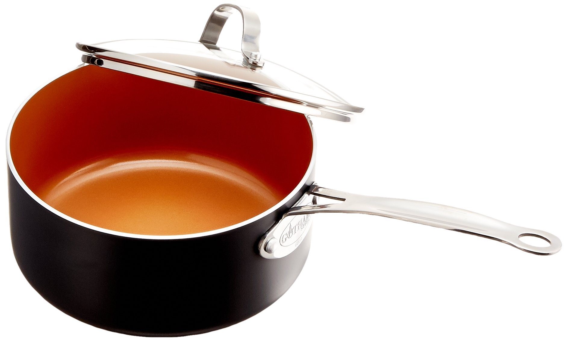 Gotham Steel Nonstick 3-Quart Stock Pot with Ceramic and Titanium Copper Surface and Tempered Glass Lid - Dishwasher Safe by GOTHAM STEEL