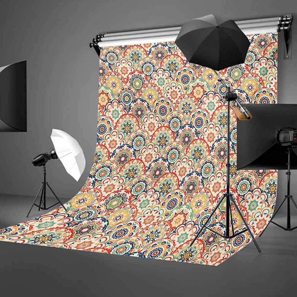 Egyptian 8x10 FT Photo Backdrops,Spiritual Symbol Over Flower of Life Ancient Abstract Secret Ratio Pattern Background for Baby Birthday Party Wedding Vinyl Studio Props Photography Violet Blue Yello
