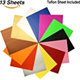 "Heat Transfer Vinyl Assorted Colors 12 Sheets 12""x 10"" Heat Transfer Bundle Iron on HTV for T Shirts, Hats, Clothing Heavy Duty Vinyl for Silhouette Cameo, Cricut or Heat Press Machine Tool"