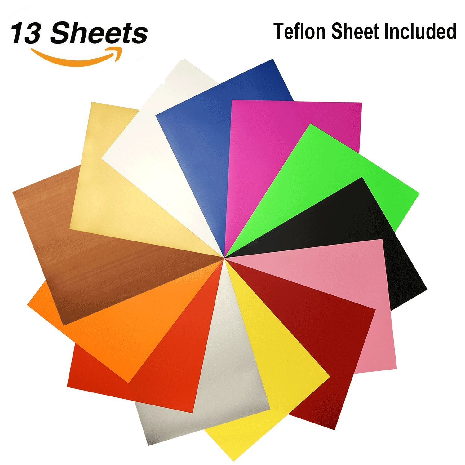 Beauty-US Assorted Colors 12 Sheets 12''x 10'' Heat Transfer Bundle Iron on Htv for T-Shirts, Hats, Clothing Heavy Duty Vinyl for Silhouette Cameo Cricut Press Machine Tool by Beauty-US