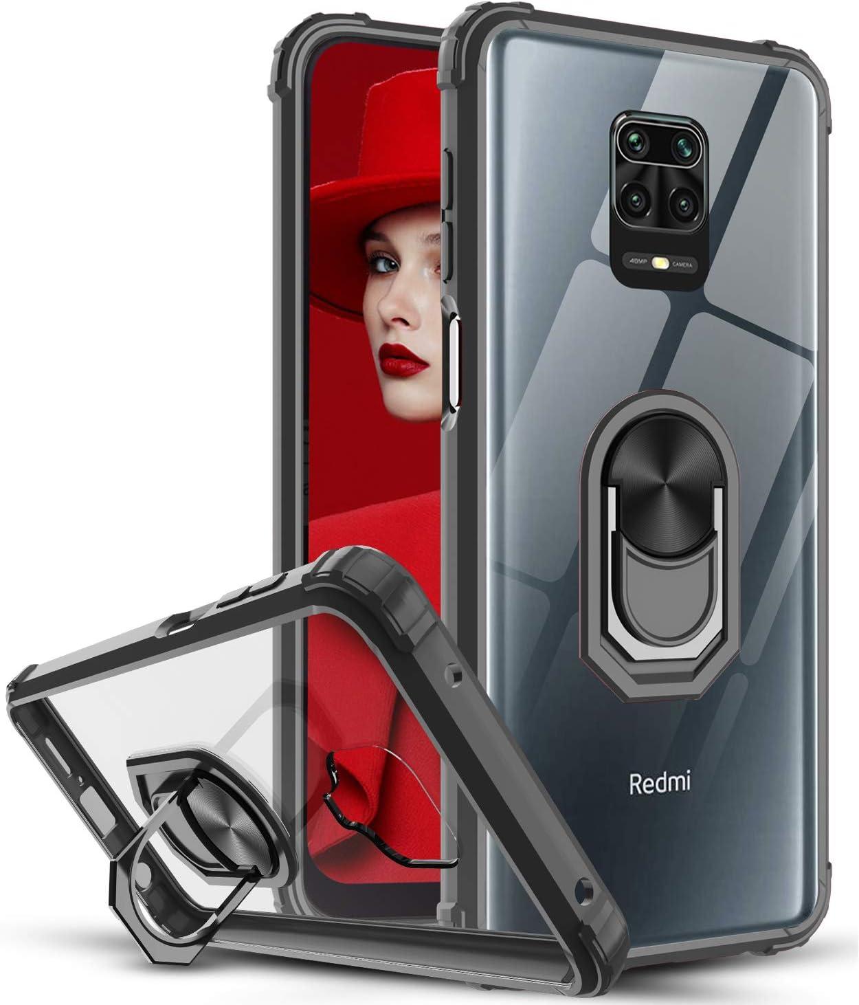 LeYi Funda Xiaomi Redmi Note 9s / Note 9 Pro,Transparente Carcasa con 360 Grados iman Soporte Silicona Bumper Armor Case para Movil Note 9s,Clear Negro
