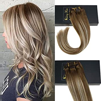 Sunny Clip in Hair Extensions Human Hair Light Brown Highlights Golden  Blonde Balayage Remy Full Head Remy Hair Extensions Clip in 7pcs 120g