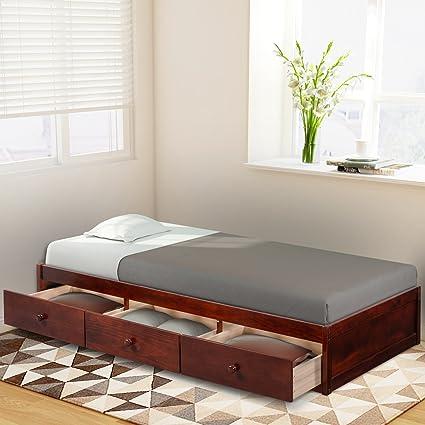 Amazon Com Haper Bright Designs Twin Size Platform Storage Bed