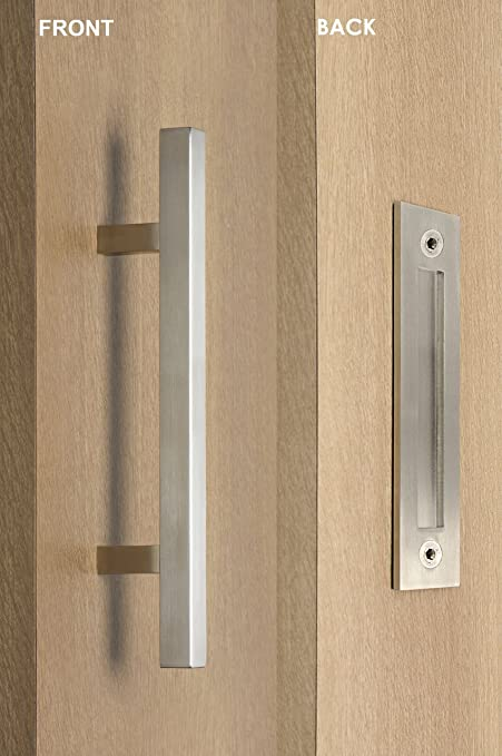 STRONGAR Modern And Contemporary Square Pull And Flush Door Handle  Set/Commercial/Residential Grade