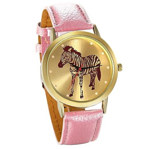 JewelryWe Reloj de Moda para Mujer Chica, Dibujo de Cebra Reloj Dorado Correa de Cuero Rosa para El Verano 2017, Buen Regalo San Valentín/Navidad: ...