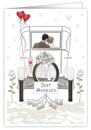 Quire Mac - Tarjeta de felicitación para boda (tamaño extra grande), diseño de recién casados, con relieve en relieve y lámina dorada y plateada