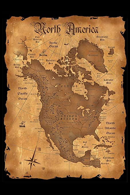 Amazon.com: North America Vintage Antique Style Map Poster 12x18 ...