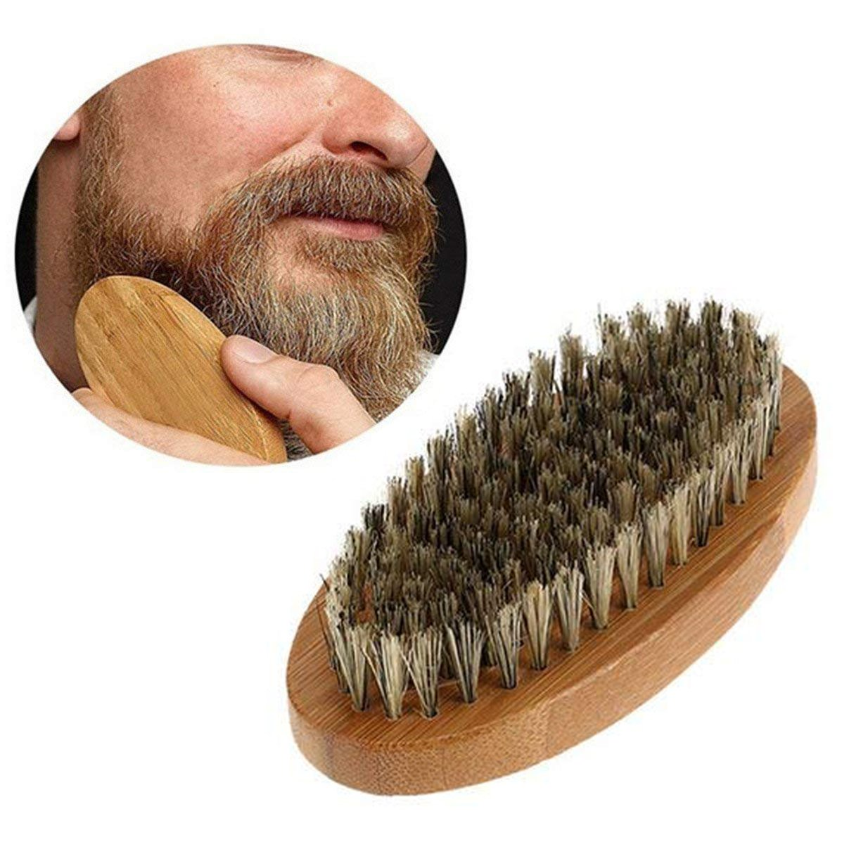 Beard Brush for Men, Beard Grooming Kit Eholder Mini Pocket Hand Wooden Brush for Shaving Moustache and Hair Styling Worked with Growth Balm Oil Wax, Boar Bristle Beard Brush Eholder Manufacturing Company