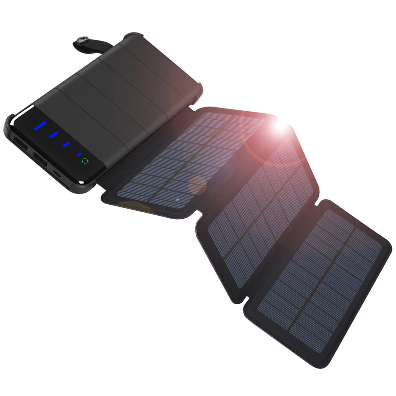 COOPOW 10000mAh Fast Solar Charger, Detachable Design with 3 High Efficiency Foldable Panels and LED Light for iPhone X/8/7/6s plus, Samsung and more Smart phone, Outdoor Camping, Travelling