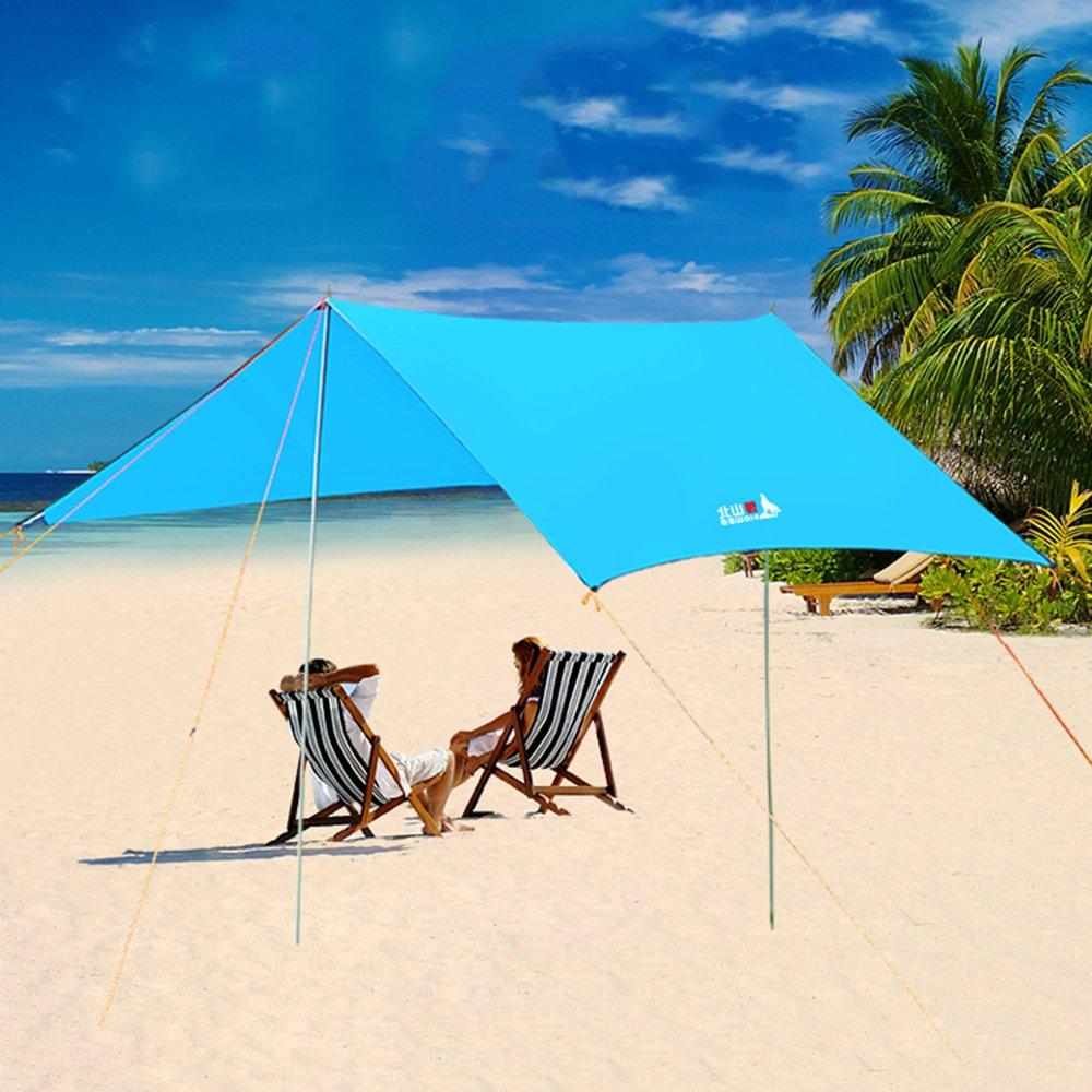 Allight Outdoor Strandzelt Strandmuscheln Regen Prävention Zelte Family Automatik Schnell FeuchtigkeitsBesteändig Sonnenschutz UV-Schutz UV50+ Tragbares Super Leicht Blau, Geeignet, für 4-6 Personen