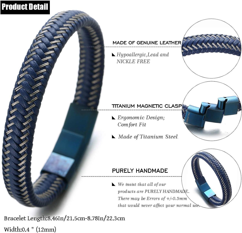 Halukakah Plus ● Jazz ● Homme Bracelet en Cuir V/éritable de Main Fermoir Magn/étique Titan 8.5-9 avec Le Bo/îte-Cadeau Gratuit 21.5-23cm