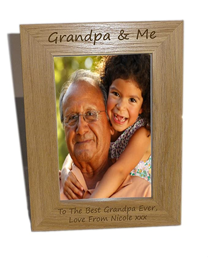 Grandpa & Me Wooden Photo Frame 4x6 - Personalise This Frame - Free ...