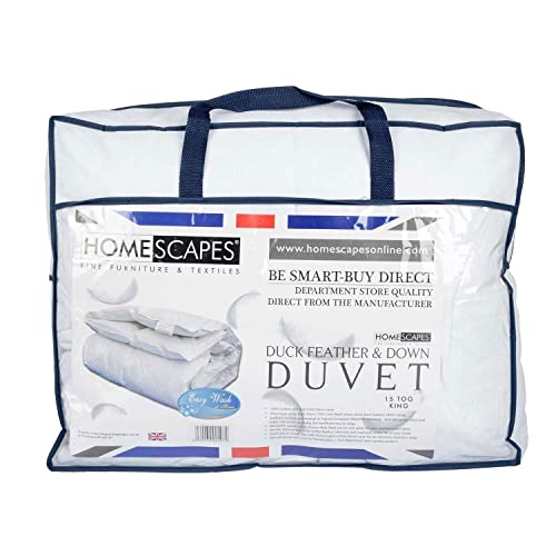 Homescapes White Duck Feather & Down 15 Tog King Size Duvet - 100% Cotton Anti Dust Mite & Down Proof Fabric - Anti allergen - Washable at Home - Luxury Winter Quilt