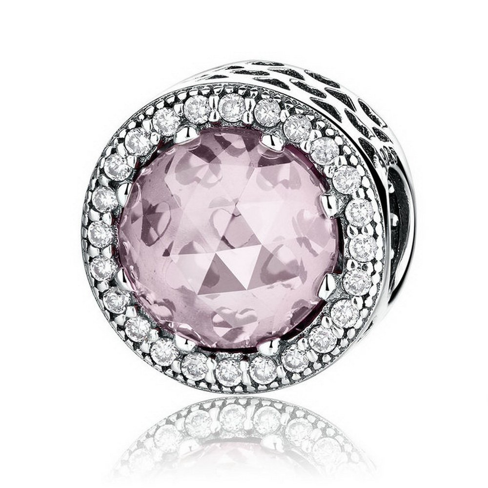 PAHALA 925 Sterling Silver Classic Round Pink Stone With Crystals Charm Bead PAHALAS338