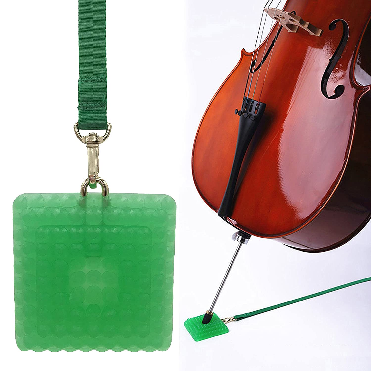 L'MS Silica Gel Cello Anti-slip Endpin Anchor Spike End Pin Rest Holder Floor Protector (Green)