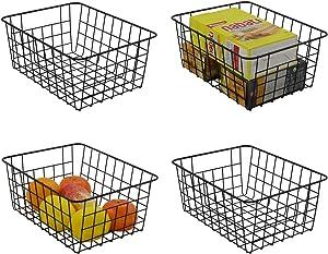 FenTeng Metal Basket Pantry Baskets Wire Storage Baskets Freezer Organizer Bins with Handles for Vegetable Fruit Books Kitchen Cabinet Closet Bedroom Bathroom Organization Small
