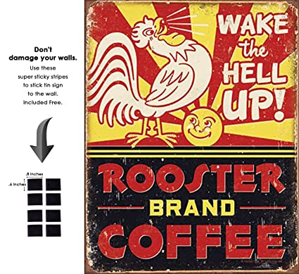 Amazon.com: Shop72- Tin Signs Rooster nd Coffee Retro Tin Sign ... on retro lighting kitchen, retro decor kitchen, retro furniture kitchen, retro coca cola kitchen, retro vintage kitchen,