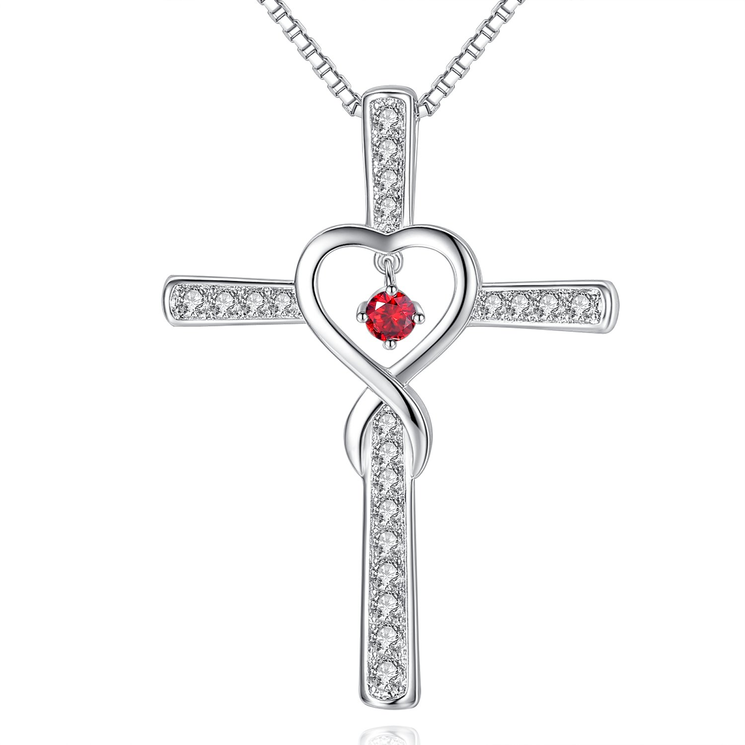 Infinity Love God Cross CZ Pendant Necklace with Birthstone, Birthday Gifts, Jewelry for Women, Girls Birthday Necklace Milamiya