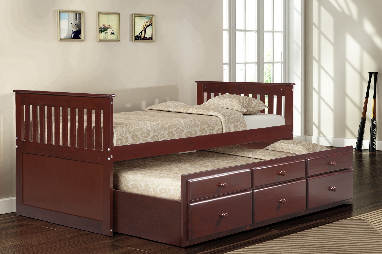 Amazoncom Merax Captains Bed With Trundle Bed And Drawers Twin