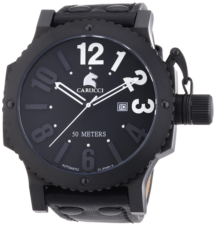 Carucci Watches Herren-Armbanduhr XL Analog Automatik Leder CA2211BK-WH