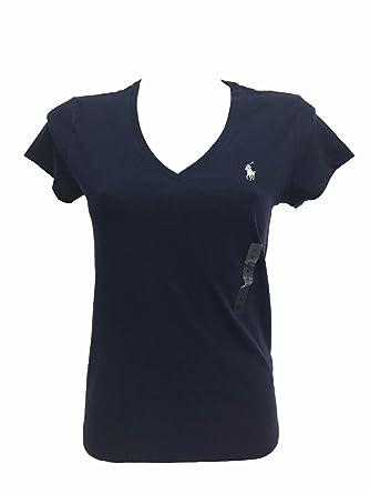 36d64d81546371 Polo Ralph Lauren Damen V Neck Shirt T-Shirt dunkelblau Größe M