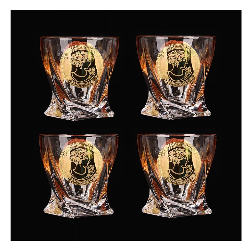 Set of 4 Gold Large Tasting Tumblers for Drinking Scotch Premium Lead-Free Crystal Glass Cups Luxury Gift for Men or Women Color : A 200ML Bourbon Brandy ZCXBHD Whisky Glasses