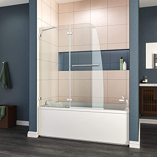 ELEGANT Frameless Hinged Tub Shower Door, 5 16 Clear Glass, 48 W x 58 H Bifold Shower Door Panel with Support Bar, Chrome Finish