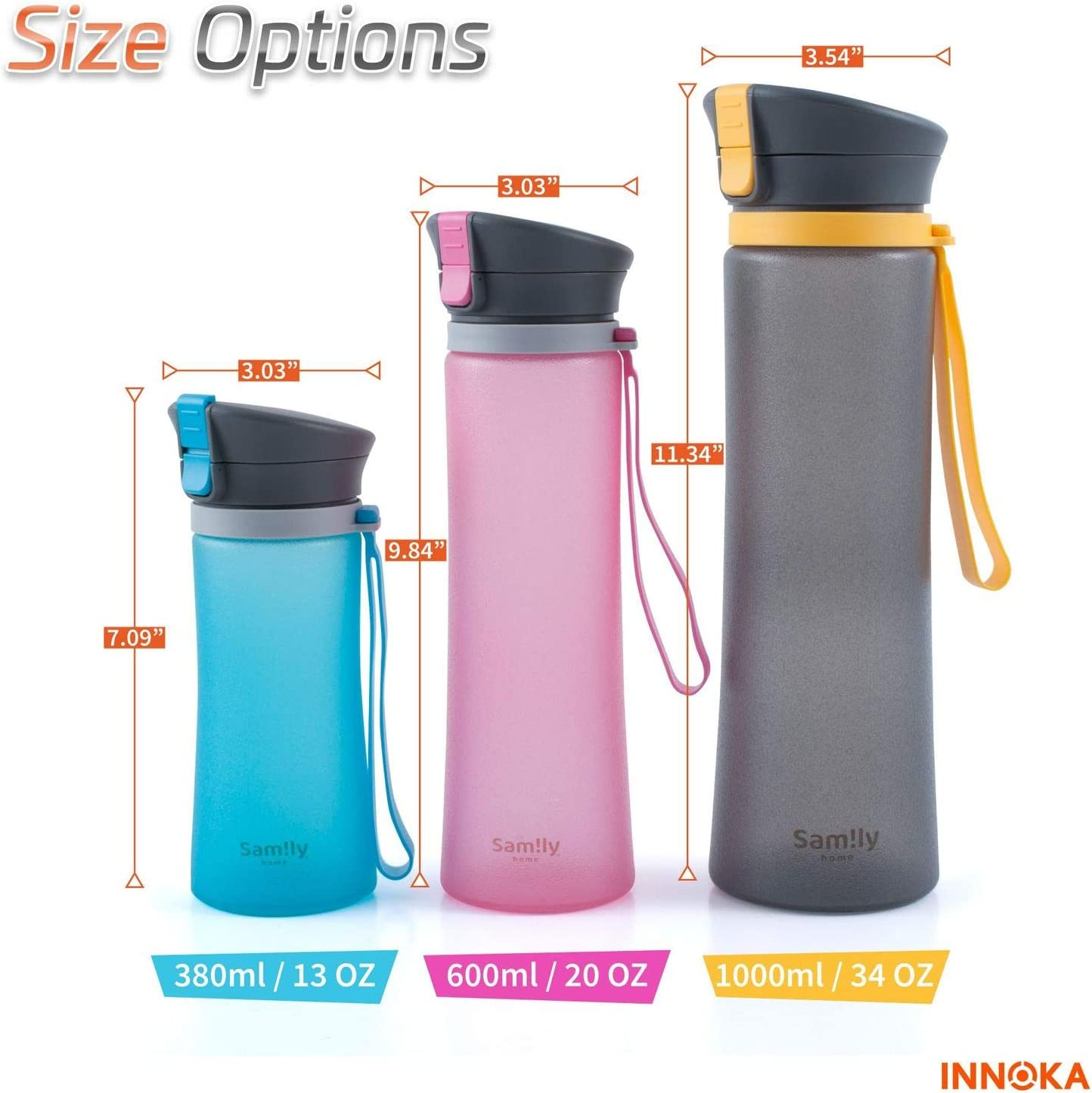 Anti-Slip Fast Flow Shatter Resistant Eco-Friendly INNOKA Samily 20oz Non-Toxic for Outdoor Hiking Flip Top Lid BPA-Free Sports Glass Water Bottle w//Patented Silicone Coated Leak Proof