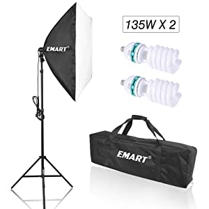 """Emart 1350W Photo Video Studio Softbox Lighting Kit, 24"""" x 24"""" Photography Continuous Lighting System with 2 pcs 5,500K Light Bulbs for Portraits Video Shooting"""