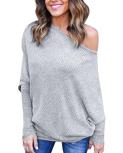 StyleDome Camiseta Larga Mujer Elegante Mangas Largas Oficina Escote Barco Casual