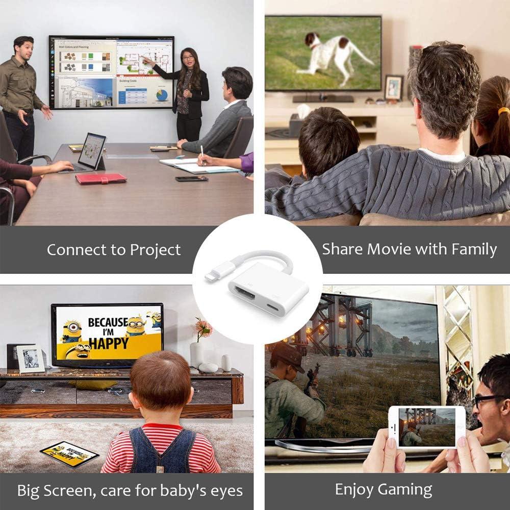 c/âble Adaptateur HDMI Compatible avec iPhone vers TV projecteur Moniteur SGFDH Adaptateur HDMI pour iPhone vers TV
