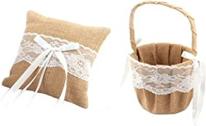 Antrader Rustic Burlap Lace Decor Petals Storage Wedding Flower Girl Basket Ring Pillow Set for Anniversary Celebrations Party Decoration, 7 x 7 inches, Khaki