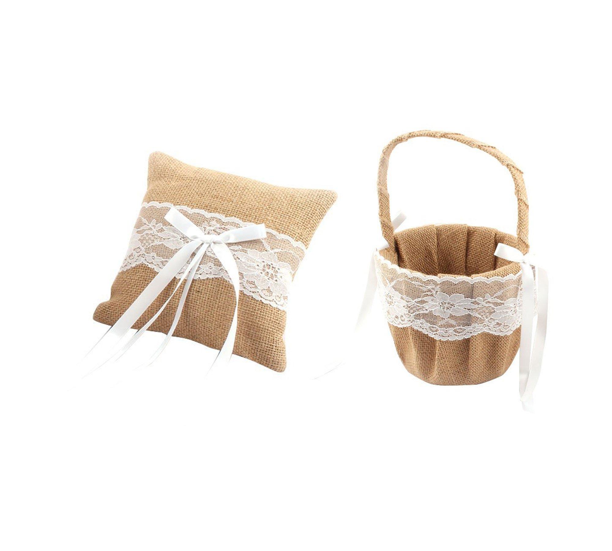 Antrader Romantic Burlap Lace Decor Petals Storage Flower Container Basket Ring Pillow Set for Wedding Anniversary Celebrations Party Decoration (Khaki B)