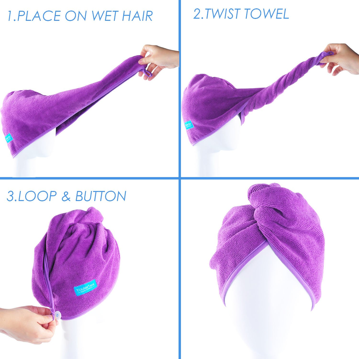 YoulerTex Microfiber Hair Towel Wrap for Women, 2 Pack 10 inch X 26 inch, Super Absorbent Quick Dry Hair Turban for Drying Curly, Long, Thick Hair(Purple+Gray) … : Beauty
