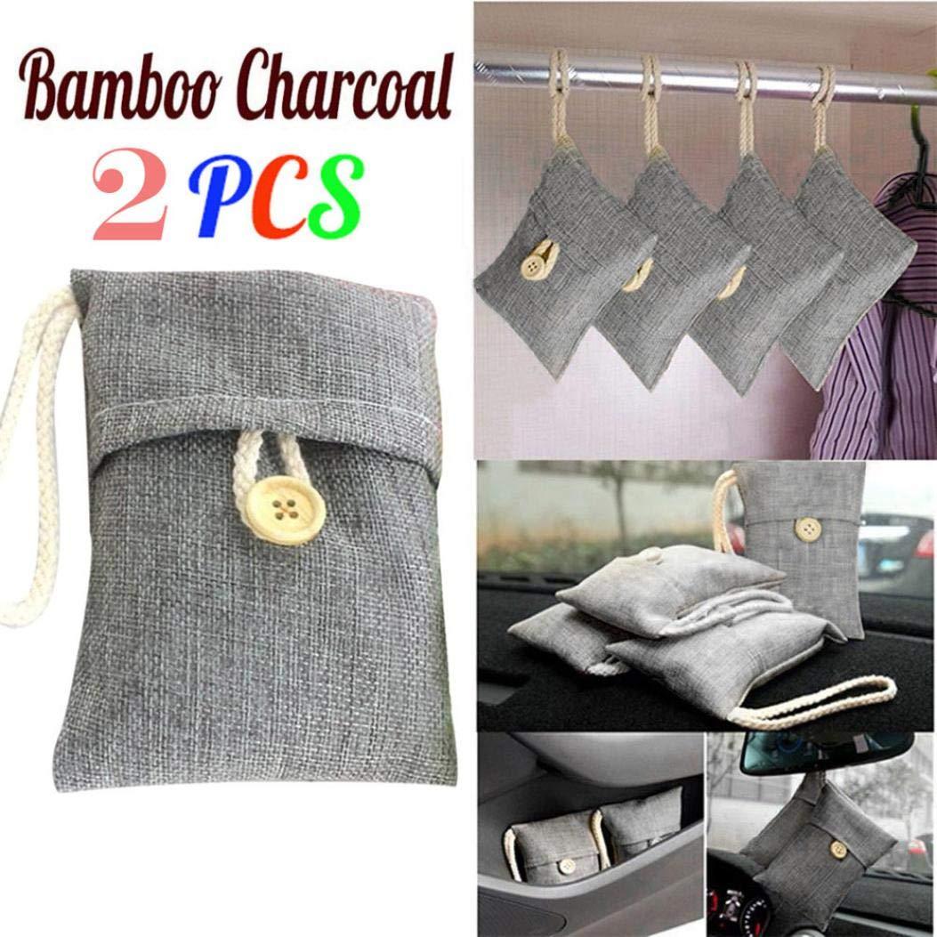 2 Packs Natural Air Purifying Bag, Staron Bamboo Charcoal Car Deodorizer Air Freshener Bag Bamboo Activated Charcoal Bag Air Purifying Air Filter Purifier For Cars, Kitchens, Closet, Bedroom (Gray)