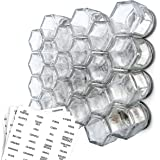 Gneiss Spice DIY Magnetic Spice Rack: Includes Empty Small Hexagon Jars, Magnetic Lids & Clear Labels (24 Small Jars)