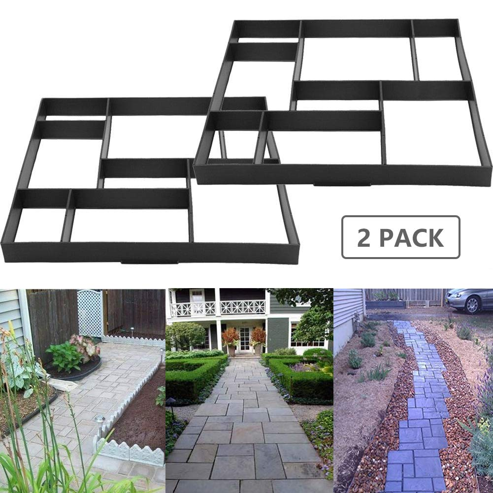INDRESSME DIY Pavement Mold Sturdy Walk Maker Pathmate Paving Cement Brick Mould for Garden Lawn Road, 17.7 x 15.7 x 1.6 Inches, 2pack mold02-2packINDRESSME