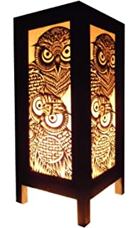 thai vintage handmade asian oriental handcraft night owl bird bedside table lights or floor wood paper - Owl Home Decor