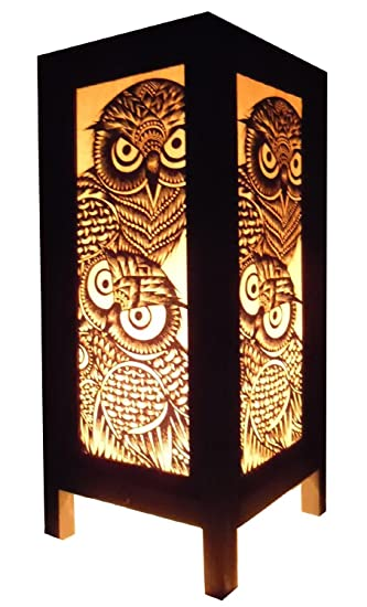 Thai Vintage Handmade Asian Oriental Handcraft Night Owl Bird Bedside Table Lights Or Floor Wood Paper