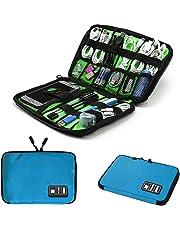 Electronics Accessories Organizer Bag,Portable Tech Gear Phone Accessories Storage Carrying Travel Case Bag, Headphone Earphone Cable Organizer Bag (M-Blue)